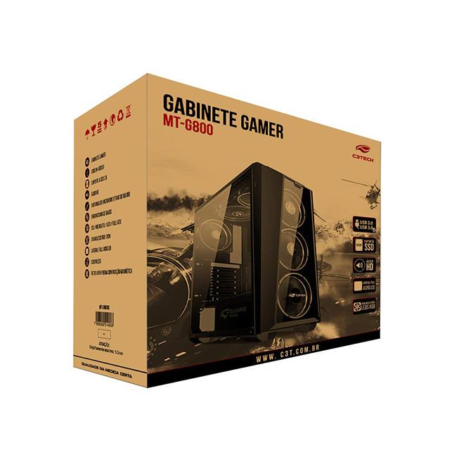 Gabinete Gamer C3TECH MT-G800BK 2 Baias Semfonte Preto