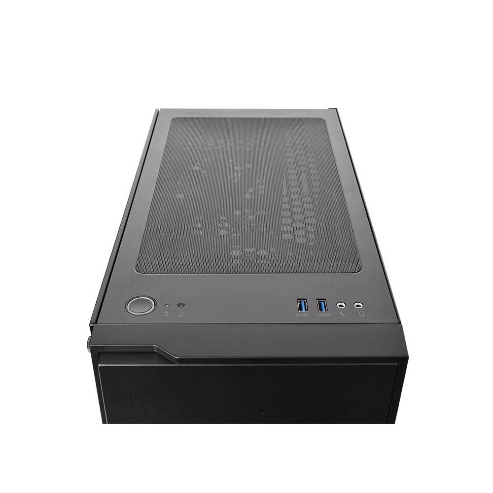 Gabinete TT H100 TG BLACK/SPCCOM TEMPGLASS1/120MM Blue CA-1L4-00M1WN-00*