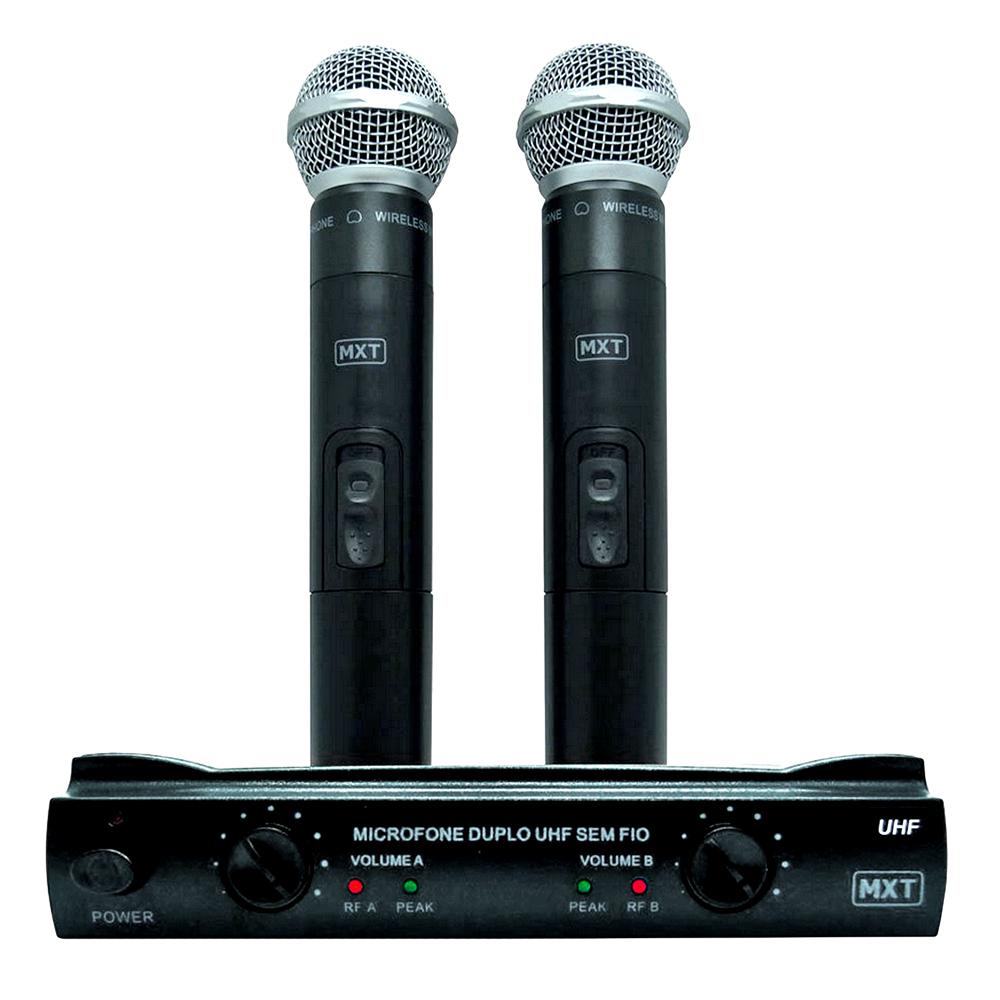 Microfone MXT sem Fio Duplo UHF302 Maleta FREQ 685,8-690,3MHZ