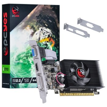 Placa de Video Nvidia Geforce G210 1GB DDR3 64 BITS com KIT LOW Profile Incluso - 30675