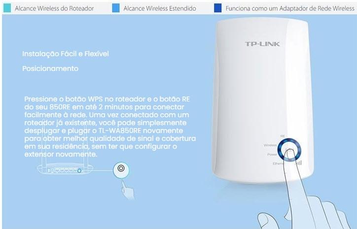 Repetidor TP-LINK Wireless TL-WA850RE 300MBPS Combotao WPS - TPN0028