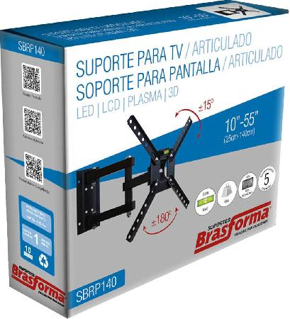 "Suporte Articulado para TV 10-55"" SBRP140 Brasforma"