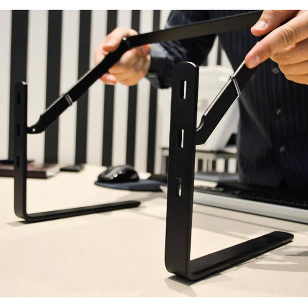Suporte Monitor Office Reliza Preto Vidro Fume 250 X 330