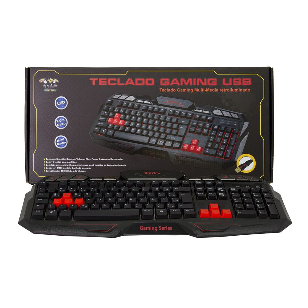Teclado Gamer Braview TCO-801 Multimidia USB Verde