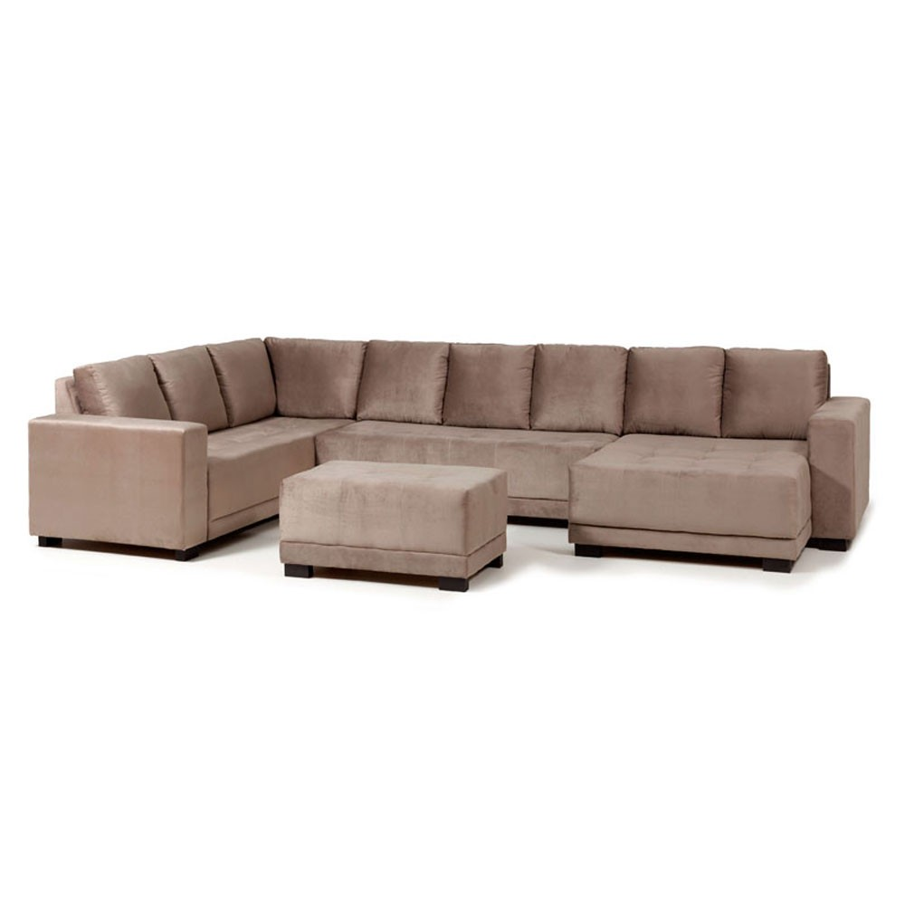 Sofá 8 Lugares Net Pacific Canto com 2 Braços / Chaise / Puff Bege 3,82m (L)  - NETSOFÁS