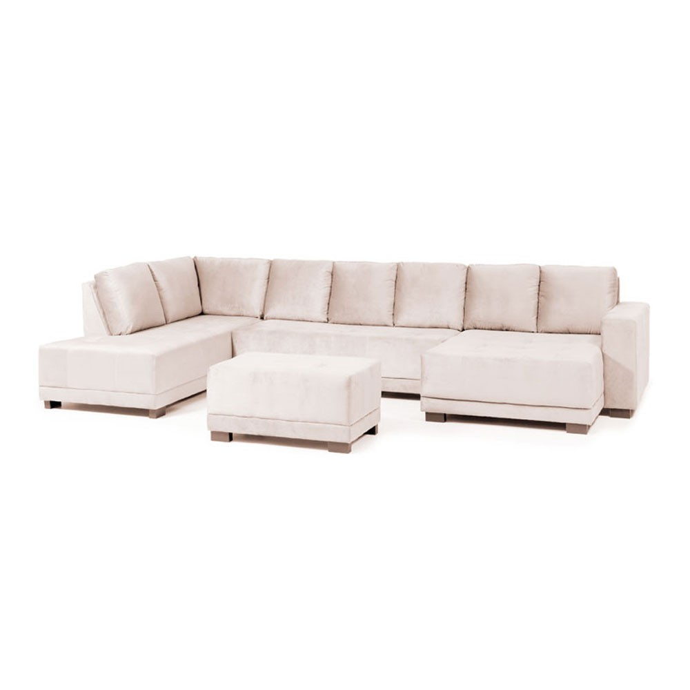 Sofá 8 Lugares Net Pacific Canto com Chaise / Puff Suede ...