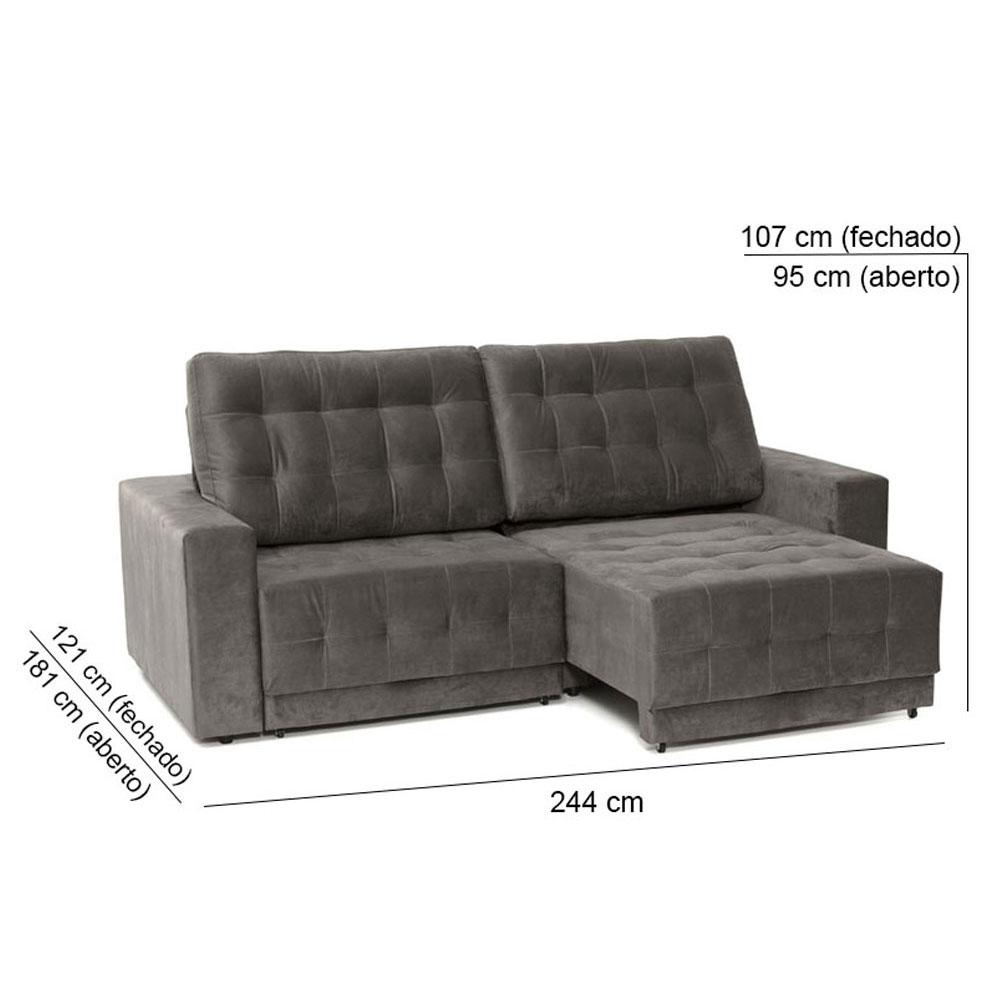 Sofá 4 Lugares Net Max Assento Retrátil e Reclinável Suede Cinza Escuro 2,44m (L)