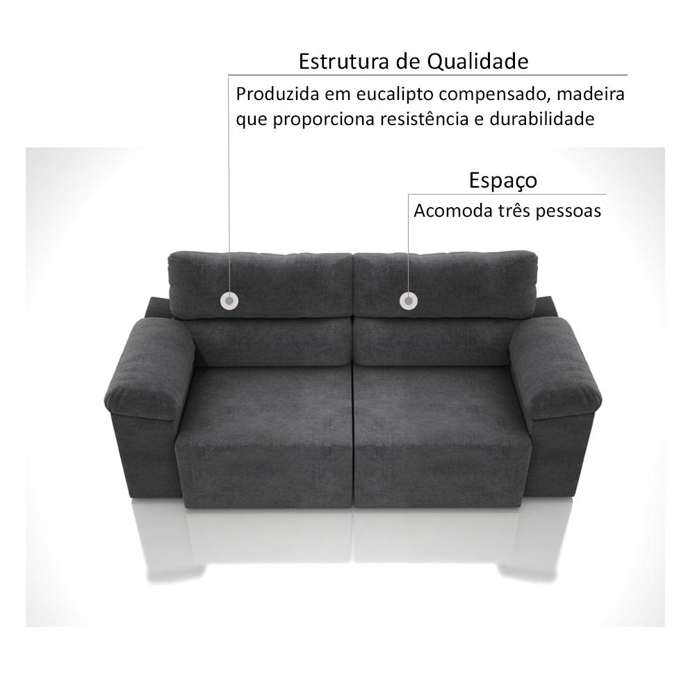 Sofá 3 Lugares Net Sportage Assento Retrátil e Reclinável Grafite 2,01m (L)  - NETSOFÁS