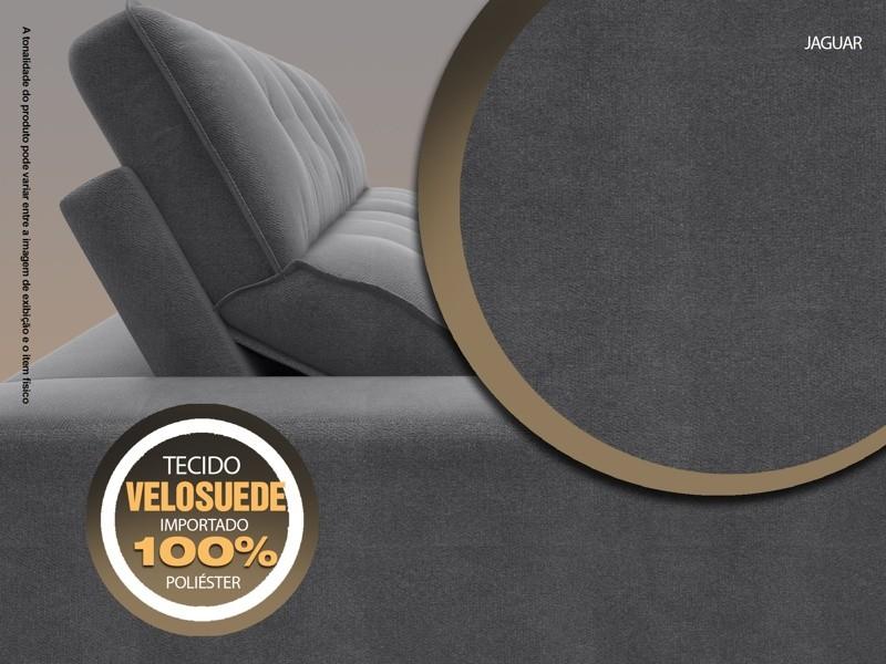 Sofá 3 Lugares Net Jaguar Assento Retrátil e Reclinável Grafite 2,00m (L)  - NETSOFÁS