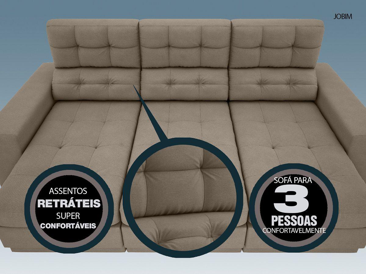 Sofá 3 Lugares Net Jobim Assento Retrátil e Reclinável Capuccino 2,05m (L)