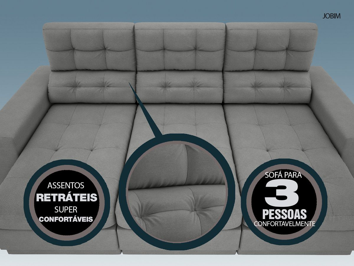 Sofá 3 Lugares Net Jobim Assento Retrátil e Reclinável Grafite 2,05m (L)