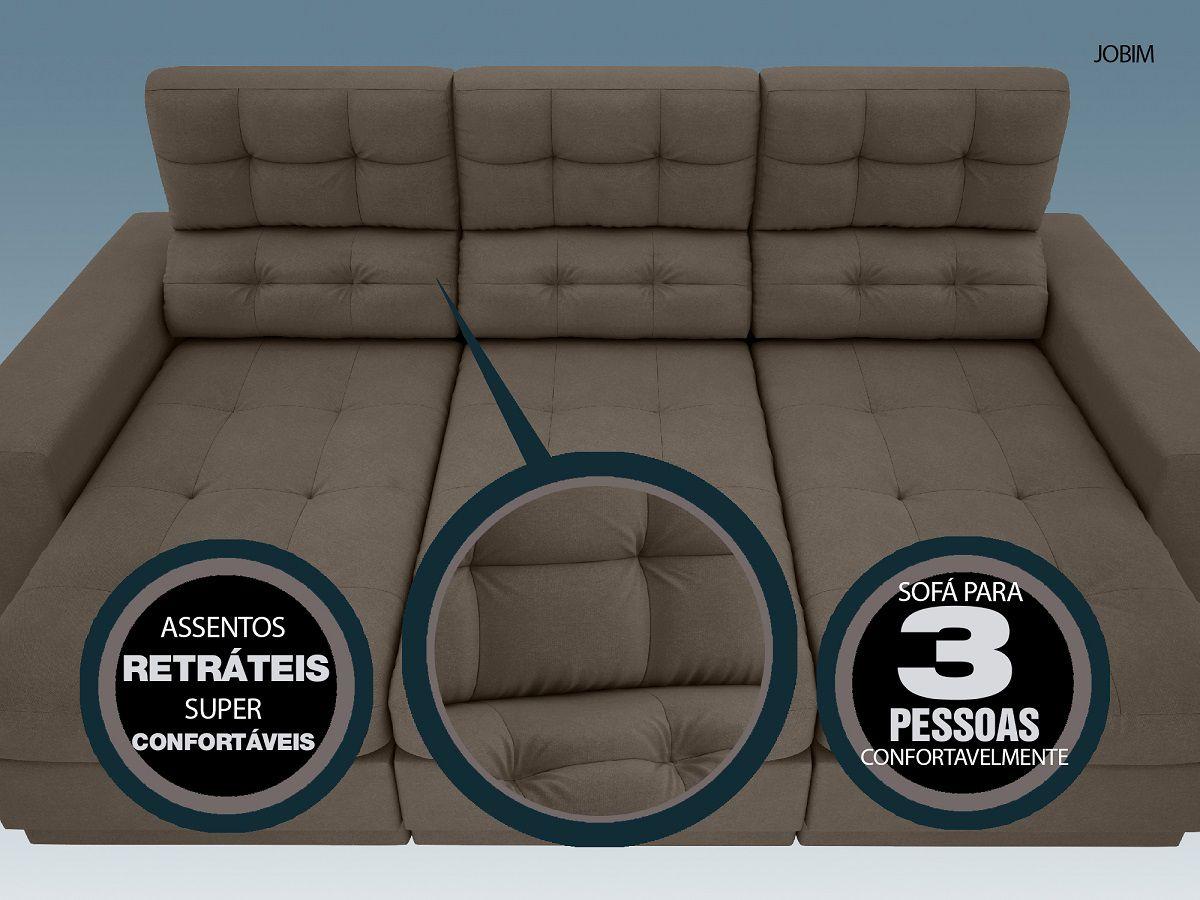 Sofá 3 Lugares Net Jobim Assento Retrátil e Reclinável Marrom 2,05m (L)