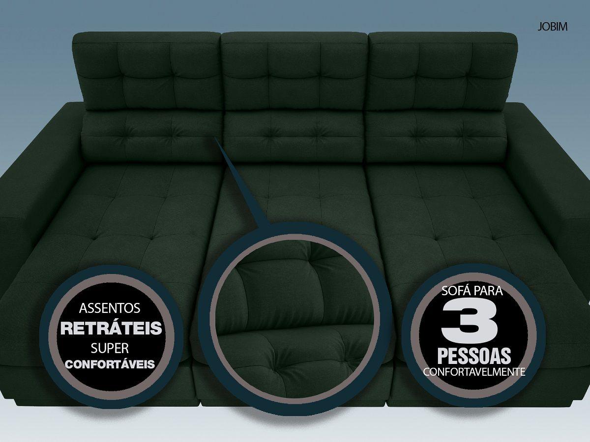 Sofá 3 Lugares Net Jobim Assento Retrátil e Reclinável Verde 2,05m (L)  - NETSOFÁS