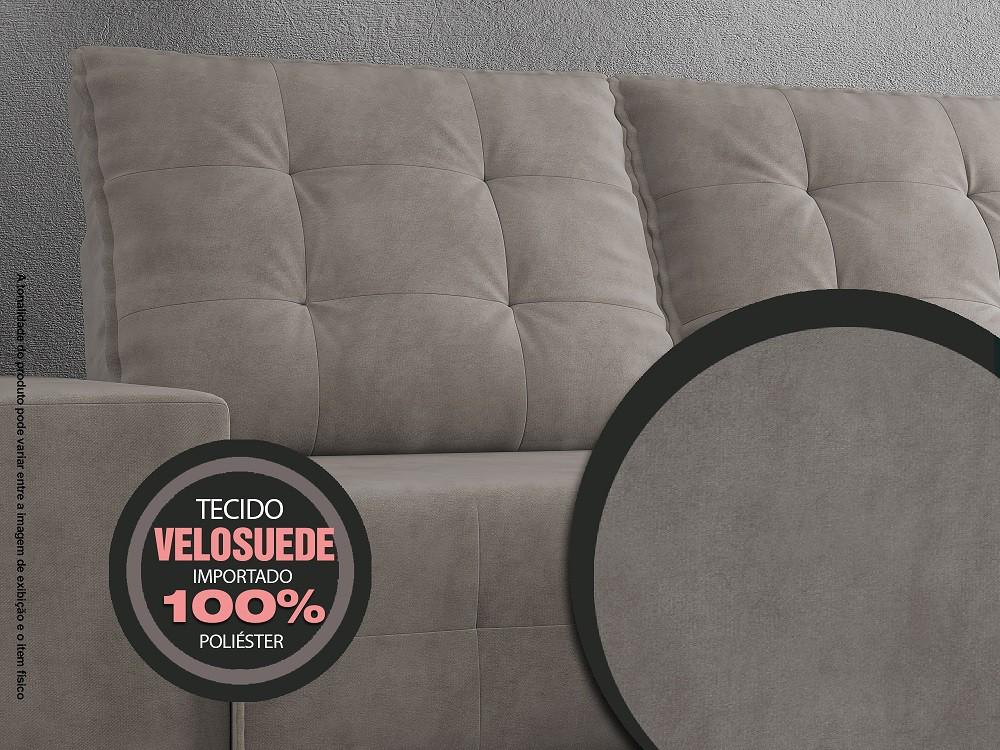 Sofá 3 Lugares Net Logan Assento Retrátil e Reclinável Cinza 2,09m (L)  - NETSOFÁS