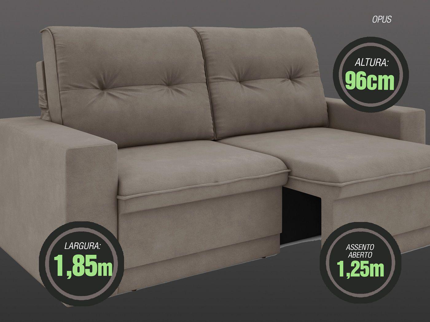 Sofá 3 Lugares Net Opus Assento Retrátil e Reclinável Bege 1,85m (L)