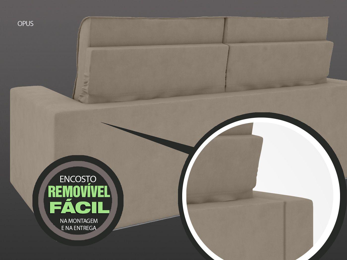 Sofá 3 Lugares Net Opus Assento Retrátil e Reclinável Capuccino 1,85m (L)