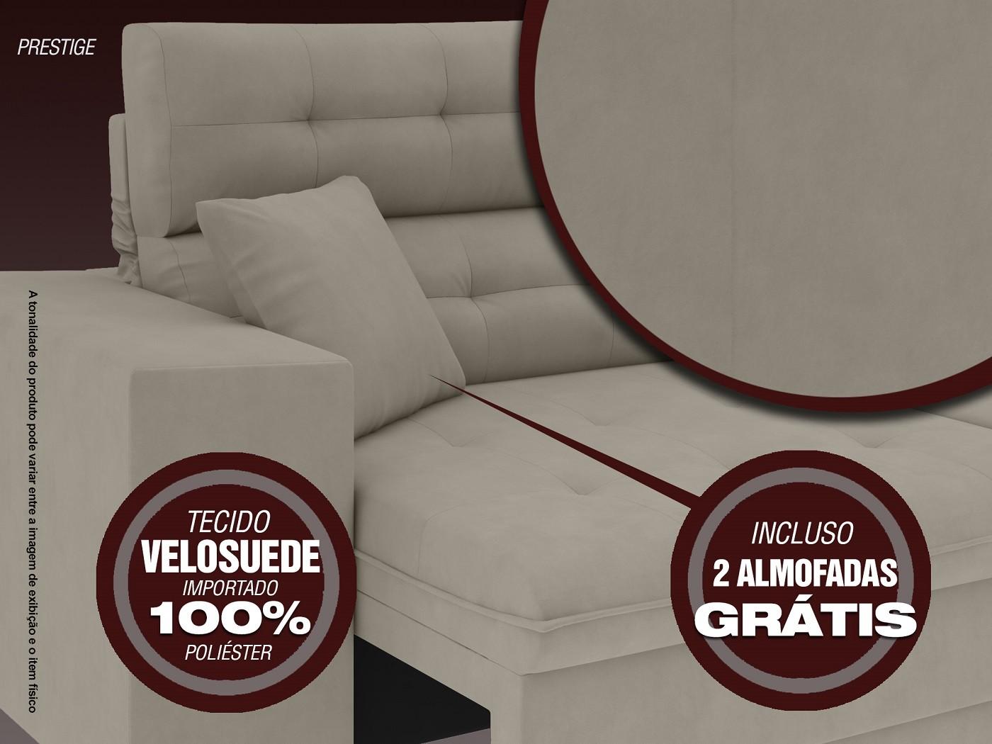 Sofá 3 Lugares Net Prestige Assento Retrátil e Reclinável Areia 2,00m (L)  - NETSOFÁS