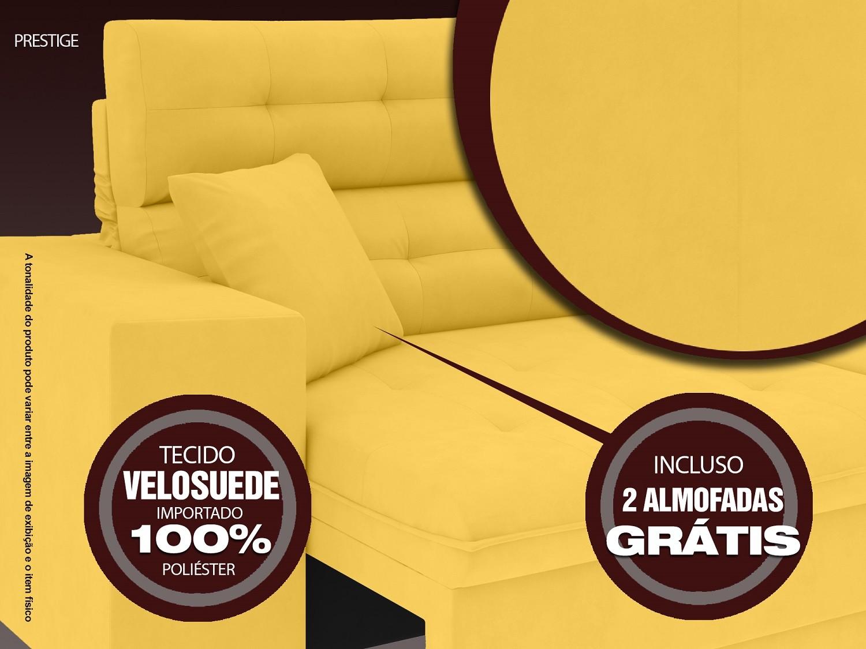 Sofá 3 Lugares Net Prestige Assento Retrátil e Reclinável Canário 2,00m (L)  - NETSOFÁS