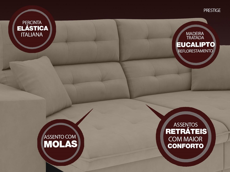 Sofá 3 Lugares Net Prestige Assento Retrátil e Reclinável Capuccino 2,00m (L)  - NETSOFÁS