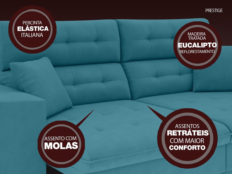 Sofá 3 Lugares Net Prestige Assento Retrátil e Reclinável Turquesa 2,00m (L)  - NETSOFÁS
