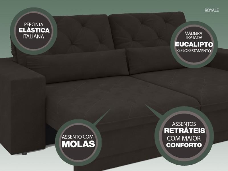 Sofá 3 Lugares Net Royale Assento Retrátil e Reclinável Chocolate 2,00m (L)  - NETSOFÁS