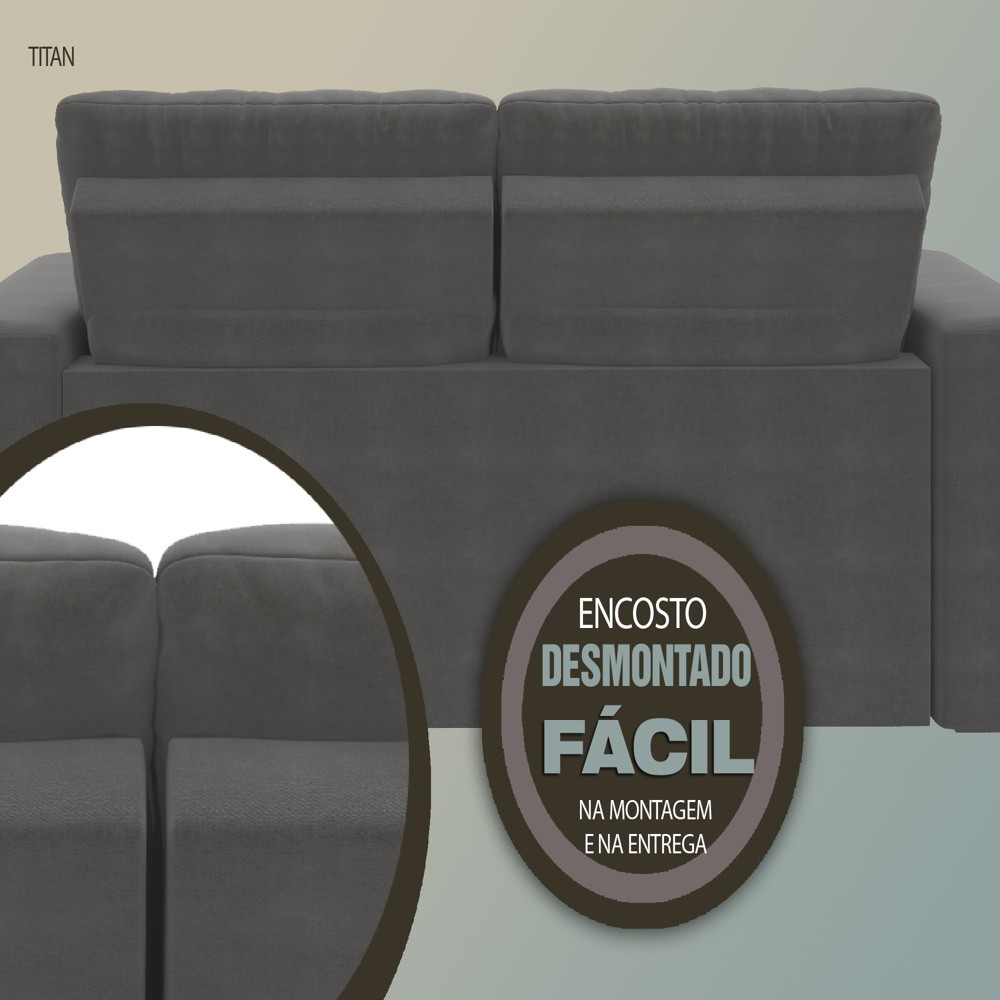 Sofá 3 Lugares Net Titan Assento Retrátil e Reclinável Cinza Escuro 2,00m (L)