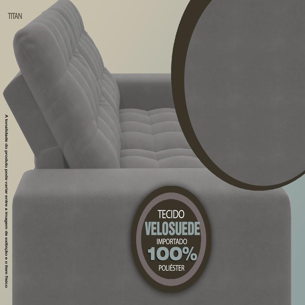 Sofá 3 Lugares Net Titan Assento Retrátil e Reclinável Grafite 2,00m (L)