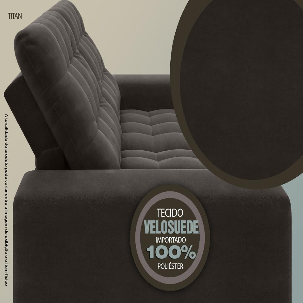Sofá 3 Lugares Titan Assento Retrátil e Reclinável Chocolate 2,00m - NETSOFAS