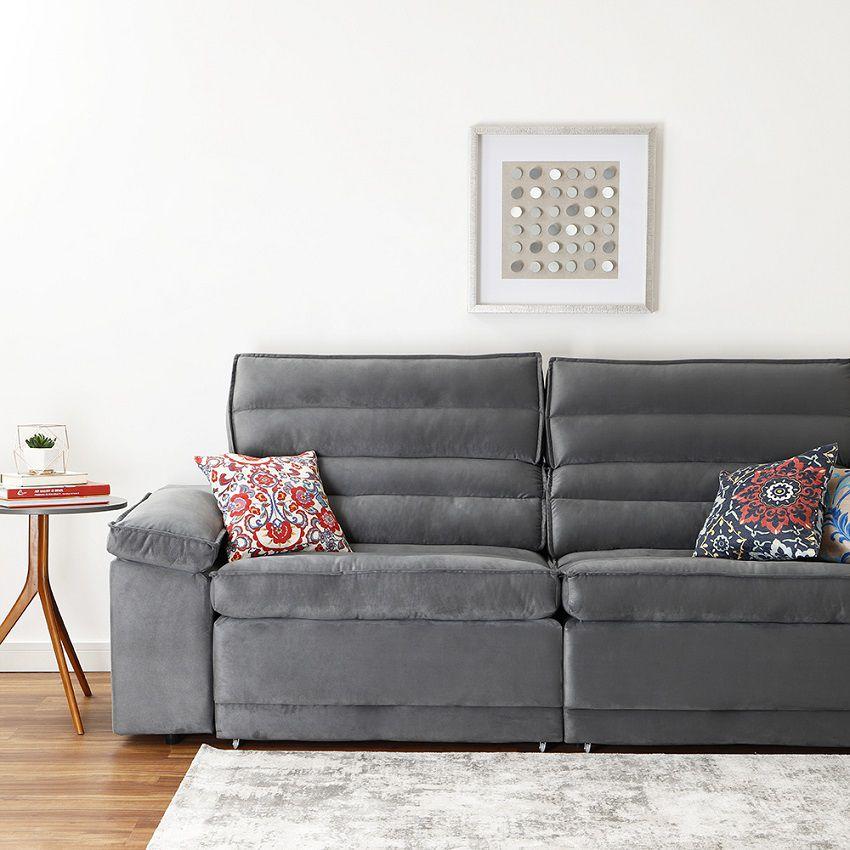 Sofá 4 Lugares Assento Retrátil e Reclinável Grafite 2,50m Nancy - at.home  - NETSOFÁS