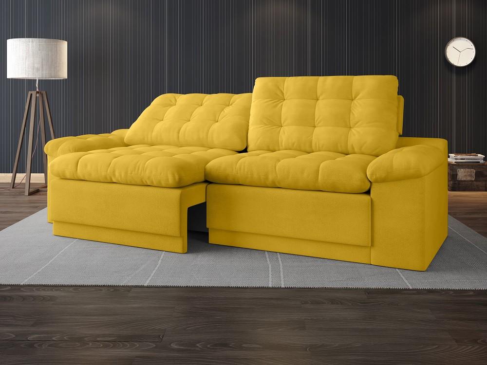 Sofá 4 Lugares Net Confort Assento Retrátil e Reclinável Canário 2,20m (L)