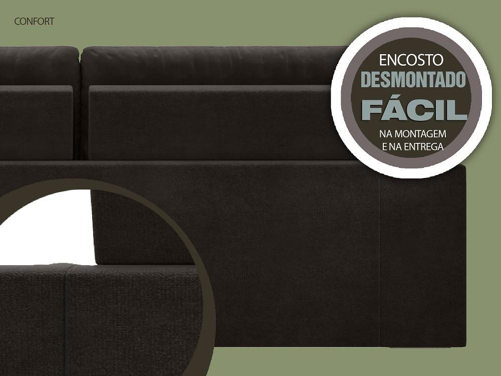 Sofá 4 Lugares Net Confort Assento Retrátil e Reclinável Chocolate 2,20m (L)