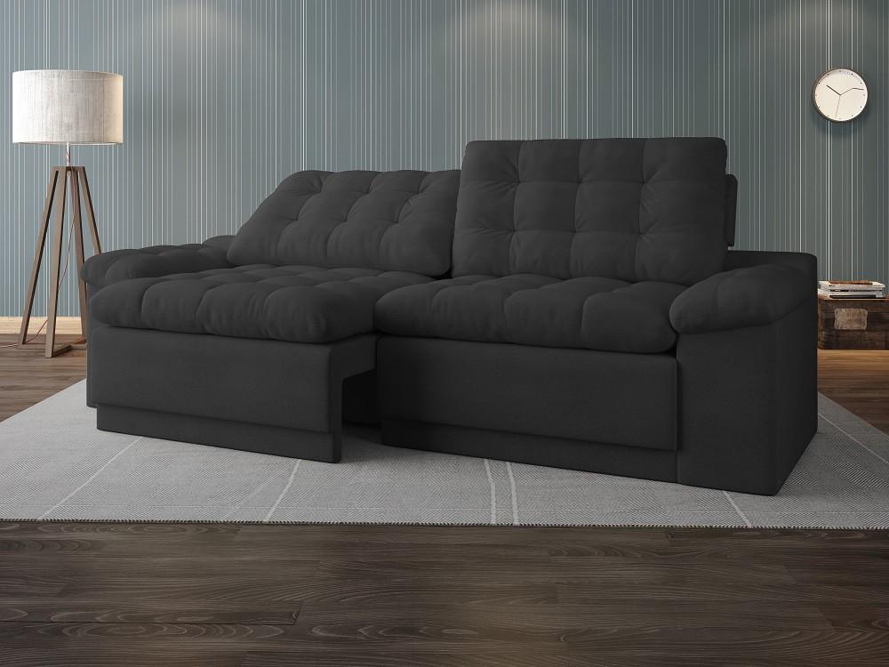 Sofá 4 Lugares Net Confort Assento Retrátil e Reclinável Cinza 2,20m (L)