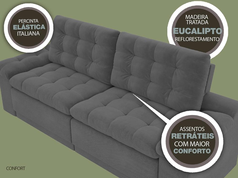Sofá 4 Lugares Net Confort Assento Retrátil e Reclinável Grafite 2,20m (L)