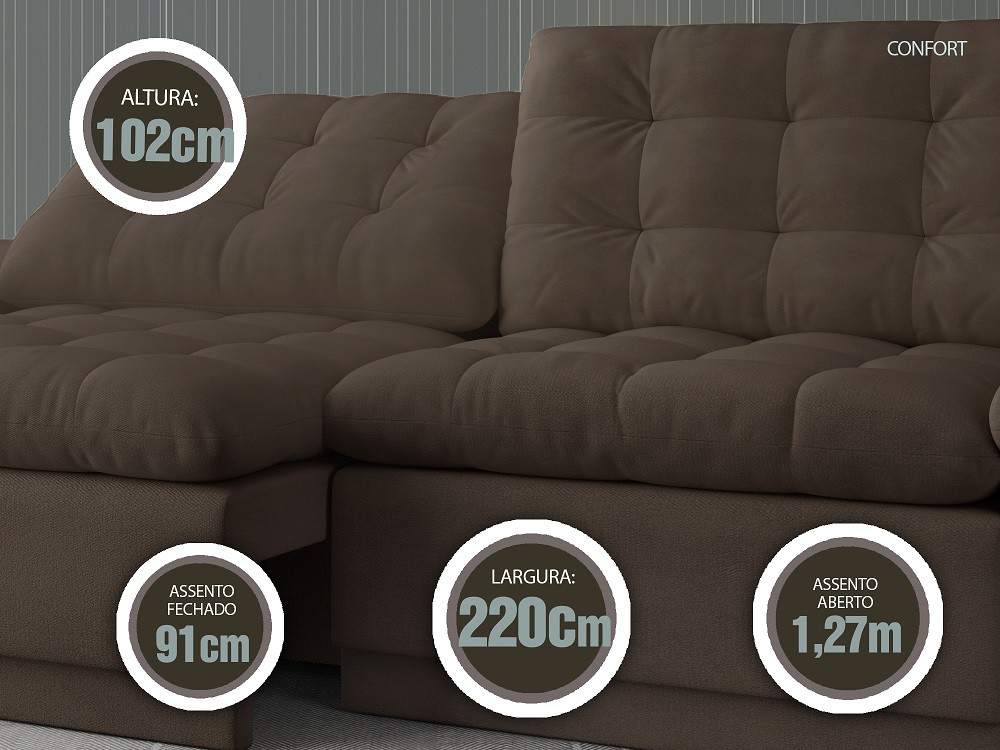 Sofá 4 Lugares Net Confort Assento Retrátil e Reclinável Marrom Claro 2,20m (L)  - NETSOFÁS