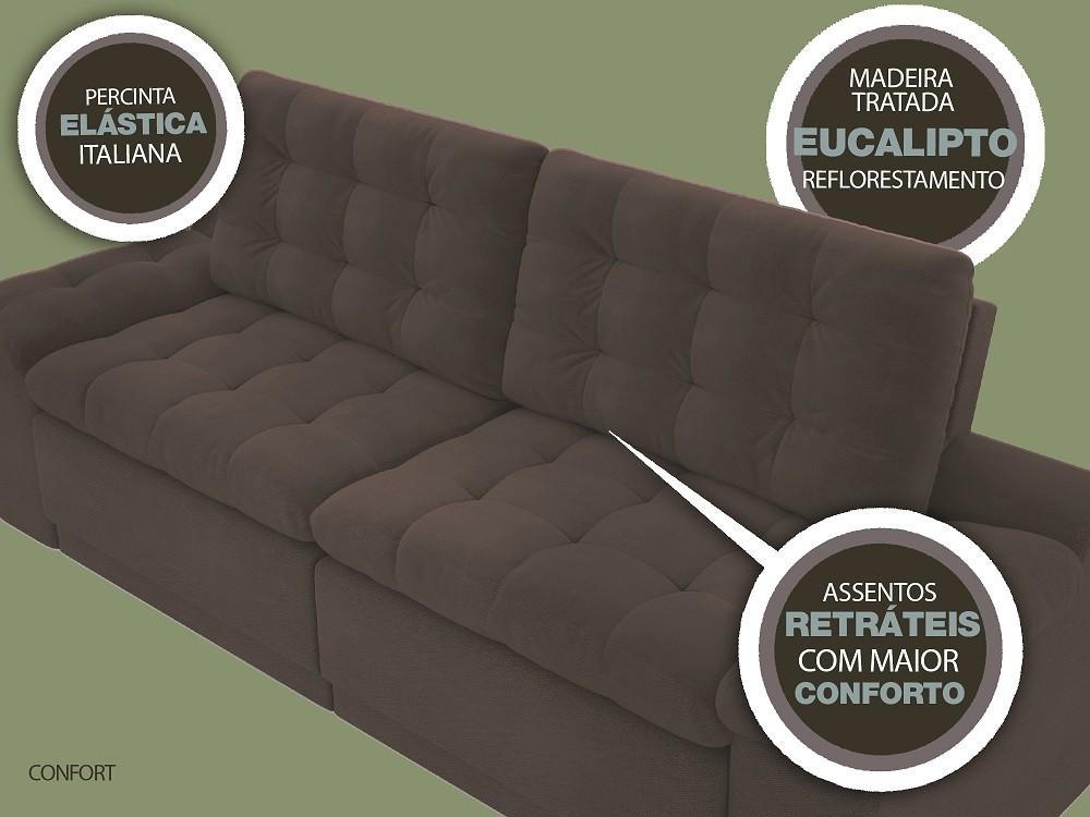 Sofá 4 Lugares Net Confort Assento Retrátil e Reclinável Marrom Claro 2,20m (L)