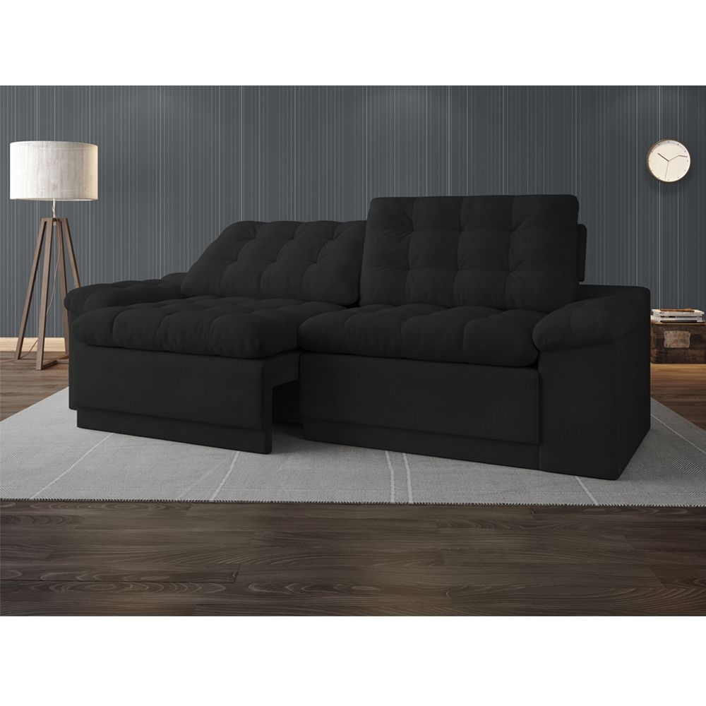 Sofá 4 Lugares Net Confort Assento Retrátil e Reclinável Preto 2,20m (L)