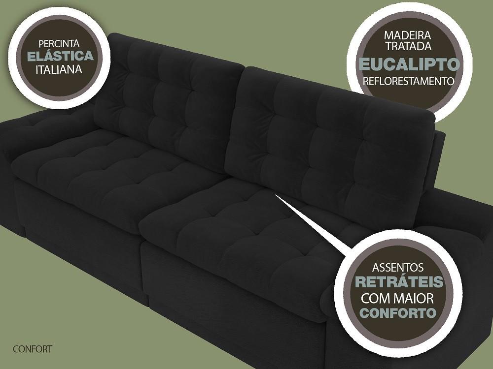 Sofá 4 Lugares Net Confort Assento Retrátil e Reclinável Preto 2,20m (L)  - NETSOFÁS