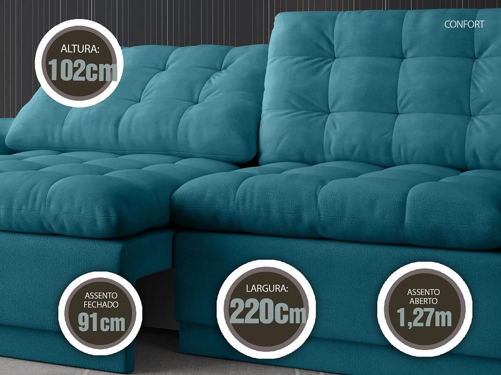 Sofá 4 Lugares Net Confort Assento Retrátil e Reclinável Turquesa 2,20m (L)