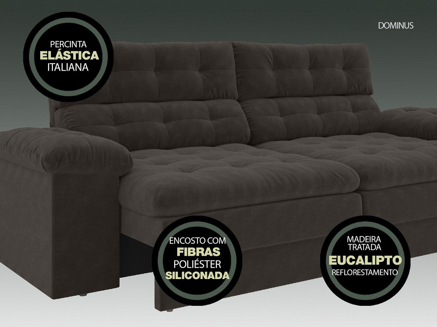Sofá 4 Lugares Net Dominus Assento Retrátil e Reclinável Chocolate 2,20m (L)