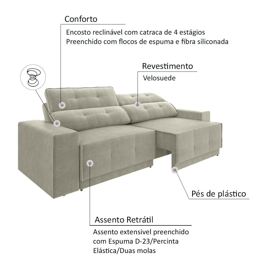 Sofá 4 Lugares Net Jaguar Assento Retrátil e Reclinável Areia 2,30m (L)