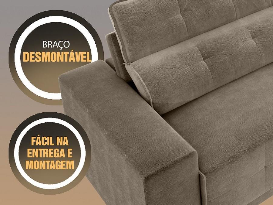 Sofá 4 Lugares Net Jaguar Assento Retrátil e Reclinável Capuccino 2,30m (L)  - NETSOFÁS