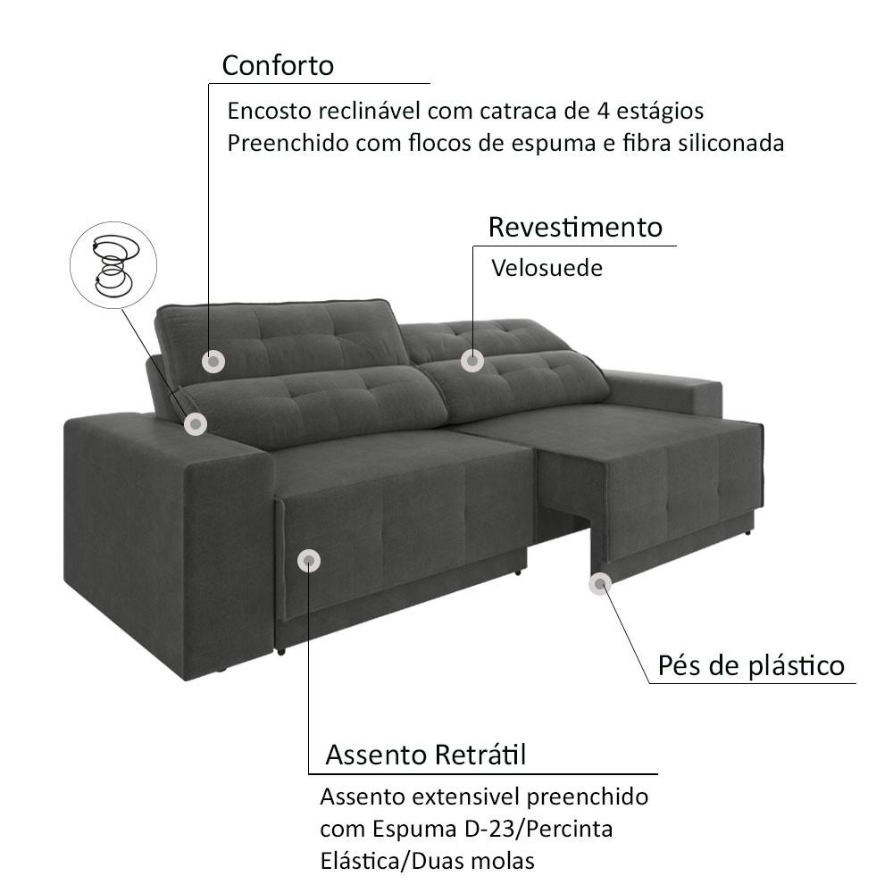 Sofá 4 Lugares Net Jaguar Assento Retrátil e Reclinável Cinza 2,30m (L)