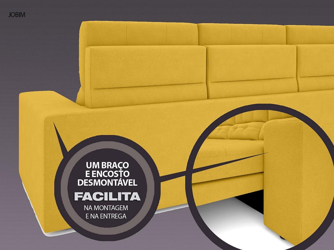 Sofá 4 Lugares Net Jobim Assento Retrátil e Reclinável Canário 2,30m (L)  - NETSOFÁS