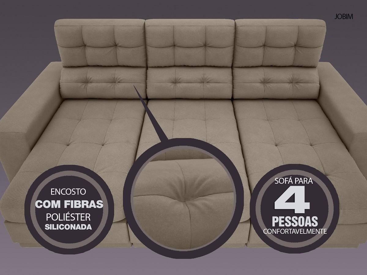 Sofá 4 Lugares Net Jobim Assento Retrátil e Reclinável Capuccino 2,30m (L)  - NETSOFÁS