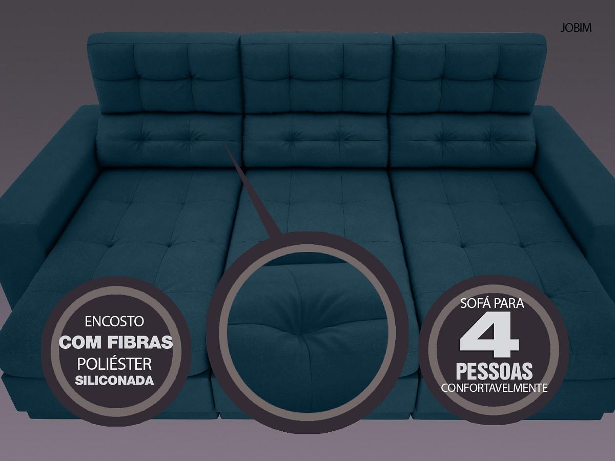 Sofá 4 Lugares Net Jobim Assento Retrátil e Reclinável Royal 2,30m (L)  - NETSOFÁS