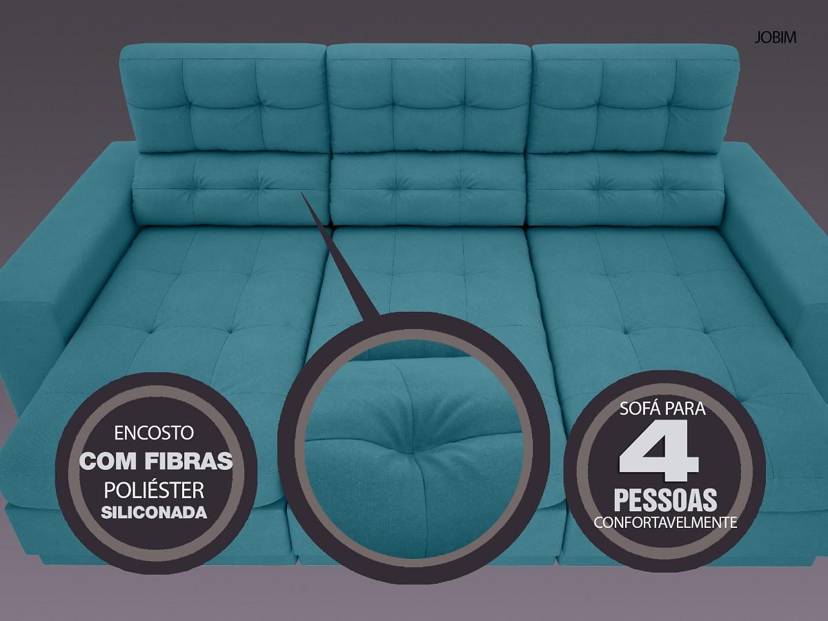 Sofá 4 Lugares Net Jobim Assento Retrátil e Reclinável Turquesa 2,30m (L)  - NETSOFÁS