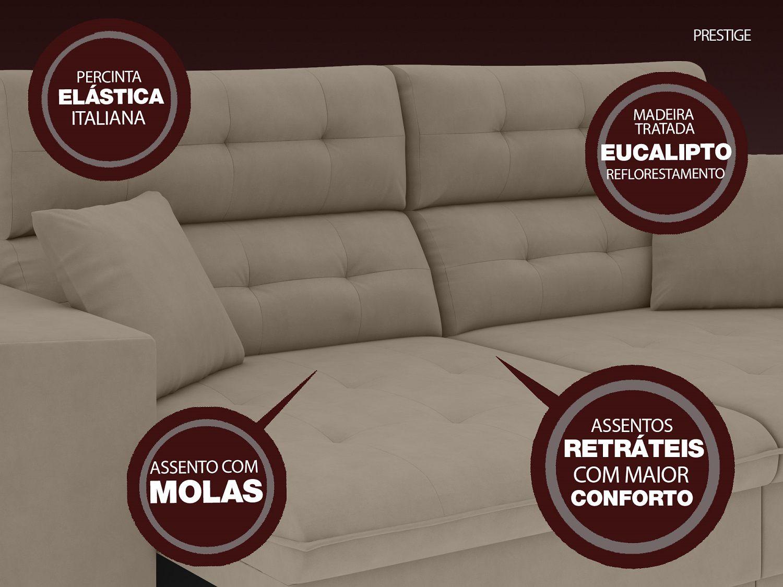 Sofá 4 Lugares Net Prestige Assento Retrátil e Reclinável Capuccino 2,30m (L)  - NETSOFÁS