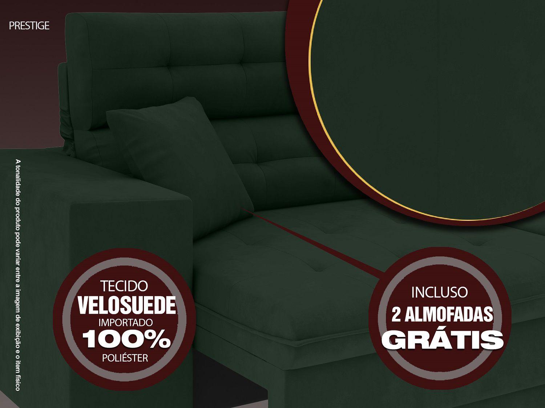 Sofá 4 Lugares Net Prestige Assento Retrátil e Reclinável Verde 2,30m (L)