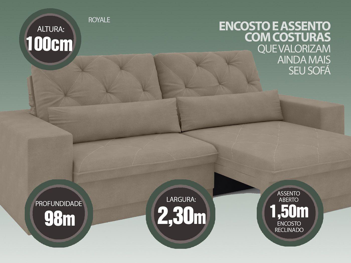 Sofá 4 Lugares Net Royale Assento Retrátil e Reclinável Capuccino 2,30m (L)