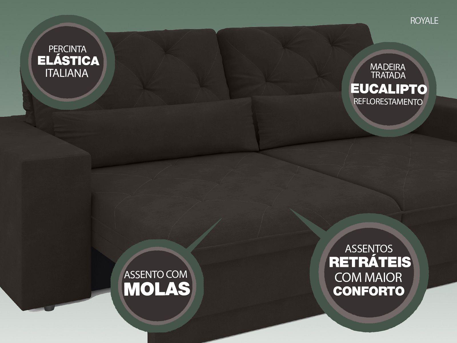 Sofá 4 Lugares Net Royale Assento Retrátil e Reclinável Chocolate 2,30m (L)  - NETSOFÁS